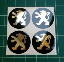 4 x 60mm Alloy wheel stickers gold effect peugeot fit center badge trim hub cap