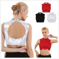Womens Mock Neck Sequin Slim Fit Keyhole Back Vest Tank Dance Crop Top Dancewear