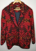Vintage Woolrich Red Nordic Aztec Wool Blend Blanket Coat Womens Sz M USA Made