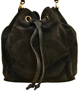 "CHANEL 8.25"" Black Suede Leather Drawstring Bucket Style Shoulder Bag with Pouch"