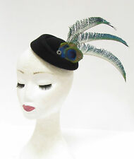 Black Green Blue Peacock Feather Pillbox Hat Headpiece Hair Fascinator Vtg 2225