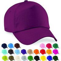 Baseball Cap Adjustable Classic Cotton Summer Sun 5 Panel Mens Ladies Hat