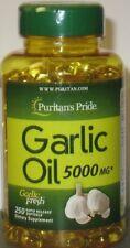 Puritan's Pride Garlic Oil 5000 mg 250 Softgels Cardio, Cholesterol Health Fresh