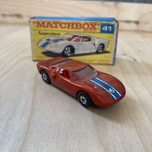 Lesney Matchbox Superfast #41 Ford GT, rare bronze color