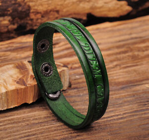 NG369 Green Mens Single Wrap Vintage Embossed Leather Wristband Bracelet Cuff