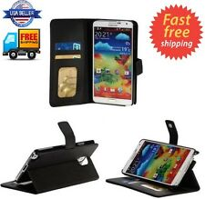 BLACK Leather Wallet Flip Folio Case Cover For Samsung Galaxy Note 3 III N900A