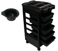 InkBed Tattoo Black Plastic 5 Drawer Trolley Tray Ink Bed Studio Salon Equipment