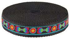 1 Inch Funkadelic Bones Ribbon on Black Nylon Webbing Closeout, 5 Yards