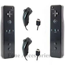 x2 Black New Remote Controller And Nunchuck For Nintendo Wii and Wii U Set Strap