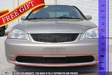 GTG 2001 - 2002 Honda Civic 4dr 1PC Gloss Black Overlay Bumper Billet Grille