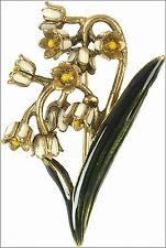 """Gold Plated Faberge Inspired Enameled Lily-of-the-Valley  Brooch 2.25"""" Tall"""