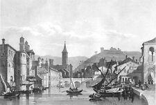 Italy, VERONA ADIGE RIVER BRIDGE BOATS  ~ Old 1861 Landscape Art Print Engraving