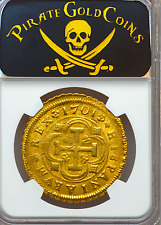 """SPAIN 1701 8 ESCUDOS NGC 62 """"ONLY 2-ALL GRADES"""" GOLD DOUBLOON SEVILLE MINT COIN"""