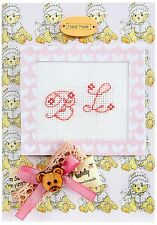 Birth Announcement Cross Stitch Card Kit By Luca-S Pink Teddy Hand Made