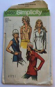 Vintage 1971 Simplicity sewing pattern 9460 woman's top shirt size 8 UNCUT
