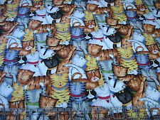 1 Yard Quilt Cotton Fabric- Spectrix Debbie Hron Crazy Cats Packed Allover