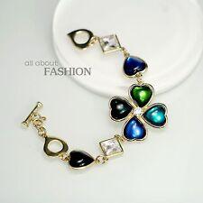 Bracelet Doré Trefle Vert Emeraude Bleu Foncé Marine Coeur Mariage OSC2