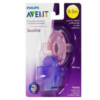 PHILIPS AVENT NEWBORN BABY SOOTHIE PACIFIER 0 - 3 MONTHS PINK & PURPLE PACK OF 2