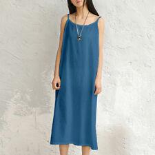 Women Summer Sling Dress Casual Loose Long Shirt Cotton Linen MAXI Dress Comfort