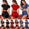 Women Sexy Pajamas Sets Silk Satin Satin Silk Babydoll Nightwear Top+Shorts