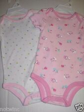 First Moments Two (2) Infant Baby Girl Bodysuits Short Sleeve 12 Months NWOT