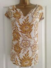 BNWT NEXT Mustard White Brown V Neck Chiffon Floral Print Blouse Top Size 10
