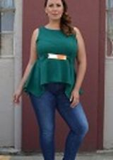 Adorable Teal  Green Gold Belted Sleeveless Plus Size Shirt Sz 2x By Just One
