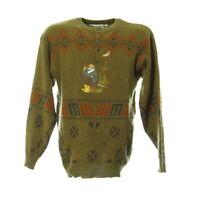 Vintage Strickpullover Gr. M Sweatshirt Sweater Knöpfe Retro Muster Stickerei