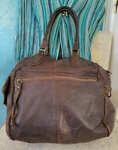 Sundance Brown Leather Tote Satchel Carryall Carry-on Travel Bag Purse Italy