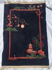 """Estate Vintage Asian wool/wool  Rug 42"""" x 60"""""""