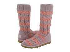 NIB UGG Classic Tall Stripe Cable Knit Boots Dusty Wysteria Seashell Rose SIZE 6