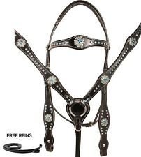 USED CRYSTAL BRIDLE BREAST COLLAR SHOW BARREL TRAIL WESTERN HORSE TACK SET BLING