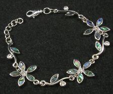 "PAUA ABALONE SHELL Flower Crystal Silver Plated BRACELET 7""+ Blue Green Purple"