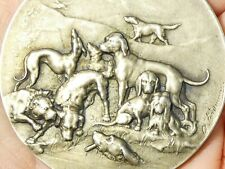 More details for 1903 lyon france gordon setter dogs show silver medal leo - saint cyr #c1