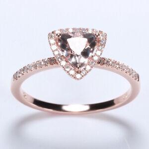 14K Rose Gold Trillion Cut Morganite Prong Setting Diamonds Engagement Ring