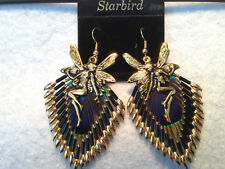 GOLD  PEACOCK FEATHER BEADED EARRINGS WITH FAIRY CAP 80's VINTAGE