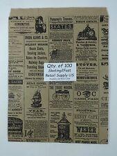"100 Qty. 8.5"" x 11"" Newsprint Design Paper Merchandise Bag Retail Shopping Bags"