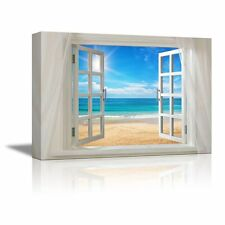 "Canvas Prints- Glimpse into Clear Sea and Beach out of Open Window - 24"" x 36"""