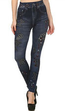 SUBLIMATION DENIM LOOK WITH RHINESTONES DETAIL FRENCH TERRY JEGGINGS LP9751-A