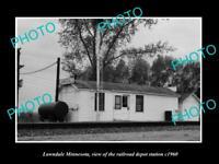 OLD LARGE HISTORIC PHOTO OF LAWNDALE MINNESOTA, THE RAILROAD DEPOT STATION c1960
