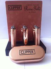 NEW ROSE GOLDEN GENUINE METAL BRUSHED  CLIPPER LIGHTER  TIN GIFT  BOX REFILLABLE