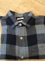 Gap Men's Standard Fit Stretch Button Down Shirt Blue Checkered Size Small