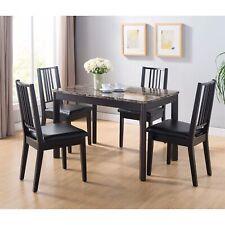 Faux Marble Top Splendid Dining Table, Dark brown