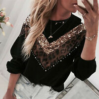 UK Womens Bling Beaded Sequins Shirt Pullover Ladies Leopard Blouse Jumpers Top