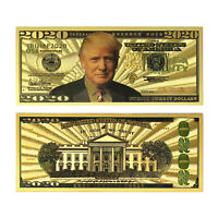 2020 Dollar Gold Bill Donald Trump Banknote Gold Coated Trump Limited Edition