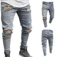 Mens Mid-waist Skinny Jeans High Street Trousers Male Denim Ripped Hole Jeans GI