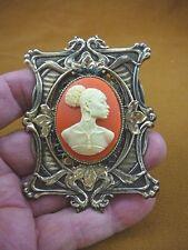 (CA20-44) RARE African American LADY orange + ivory CAMEO Pin Pendant JEWELRY