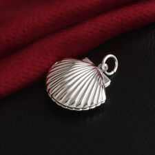 Fashion Scallop Shell Shape Pendant Solid Silver Plated Women Photo Box Necklace