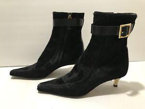 Dolce & Gabbana Ankle Boots Poinlu Toe Pony Hair Zip Heel Black Gold 37.5/ 7