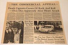 DEATH of ELVIS PRESLEY NEWSPAPER MEMPHIS tn COMMERCIAL APPEAL August 17 1977